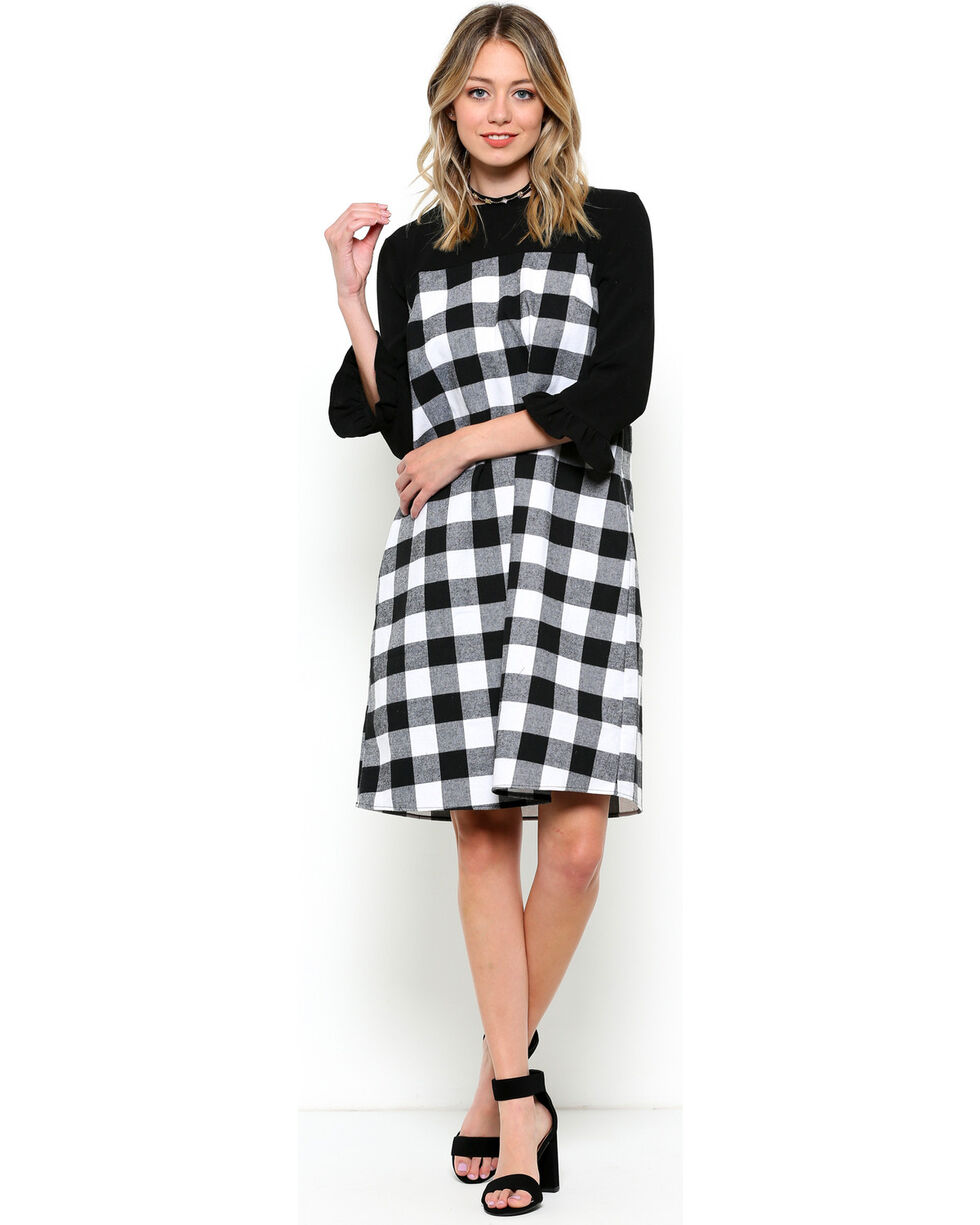 CES FEMME Women's Black Plaid Two Tone Dress , , hi-res