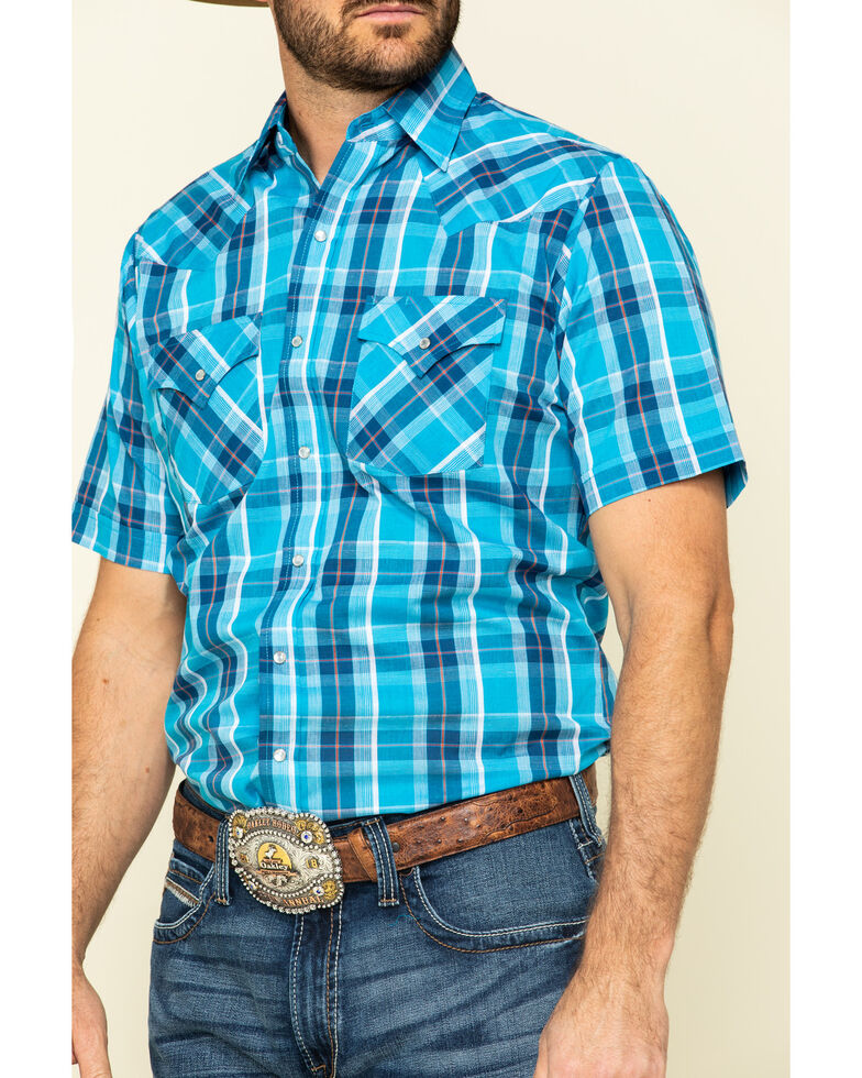 Ely Cattleman Men's Turquoise Dobby Plaid Short Sleeve Western Shirt , Turquoise, hi-res