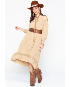 Wrangler Women's Peasant Hi Low Belted Tassel Dress , Tan, hi-res