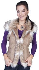 Scully Faux Fur Shoulder & Trim Vest, Hazelnut, hi-res