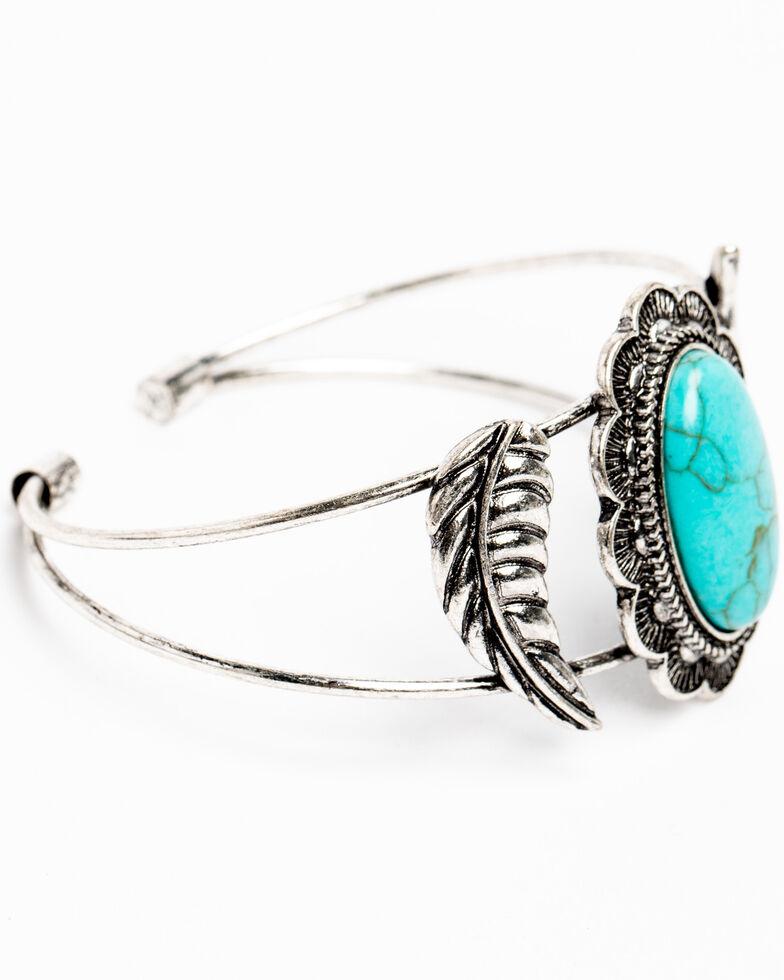 Shyanne Women's Hidden Treasure Turquoise Concho Wire Cuff Bracelet, Silver, hi-res