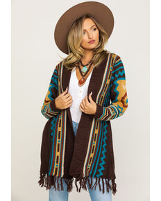 Joseph Studio Women's Aztec Fringe Cardigan, Brown, hi-res