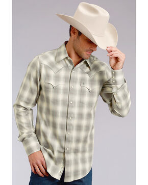 Stetson Men's Modern Fit Grey Plaid Long Sleeve Snap Shirt, Grey, hi-res