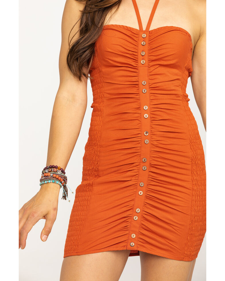 Free People Women's Hold On Mini Dress, Rust, hi-res