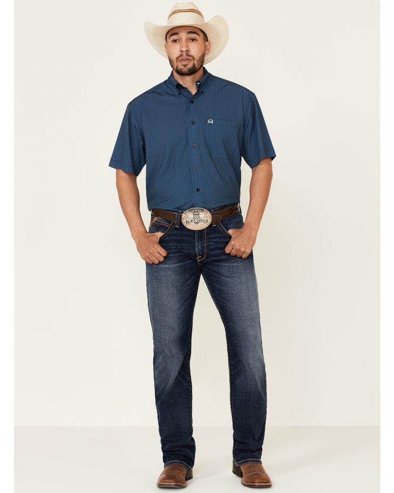 Cinch Men's Arena Flex Blue Small Geo Print Short Sleeve Western Shirt - Big , Blue, hi-res