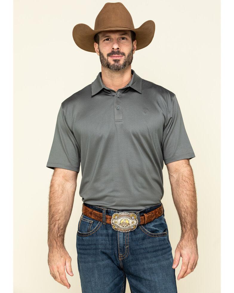Ariat Men's Grey Birdseye Short Sleeve Polo Shirt , Grey, hi-res