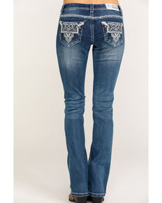 "Grace in LA Women's Dark Low Boot Medallion Bling 32"" Jeans, Blue, hi-res"
