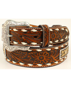 Nocona Men's Genuine Leather Floral Embossed Belt, Tan, hi-res