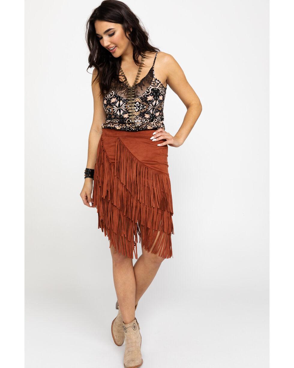 Idyllwind Women's Spellbound Fringe Skirt, Tan, hi-res