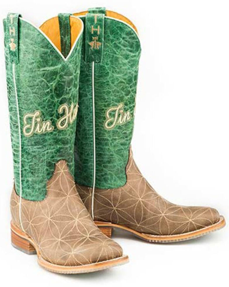 Tin Haul Women's Flower Of Life Western Boots - Wide Square Toe, Brown, hi-res