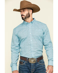 Cody James Core Men's All-In Geo Print Long Sleeve Western Shirt , Navy, hi-res