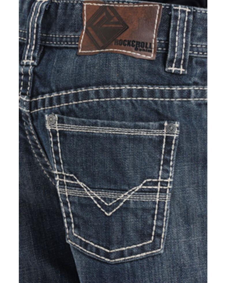 """Rock & Roll Cowboy Boys' BB Gun""""V"""" Embroidery Regular Fit Boot Cut Jeans, Indigo, hi-res"""