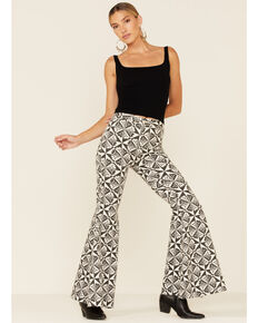 Free People Women's Geometric Just Float On High Rise Flare Jeans , Natural, hi-res
