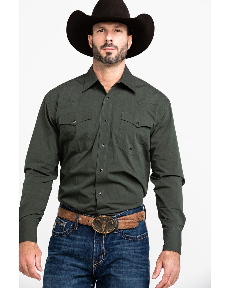 Roper Men's Black Fill Olive Solid Long Sleeve Western Shirt , Green, hi-res
