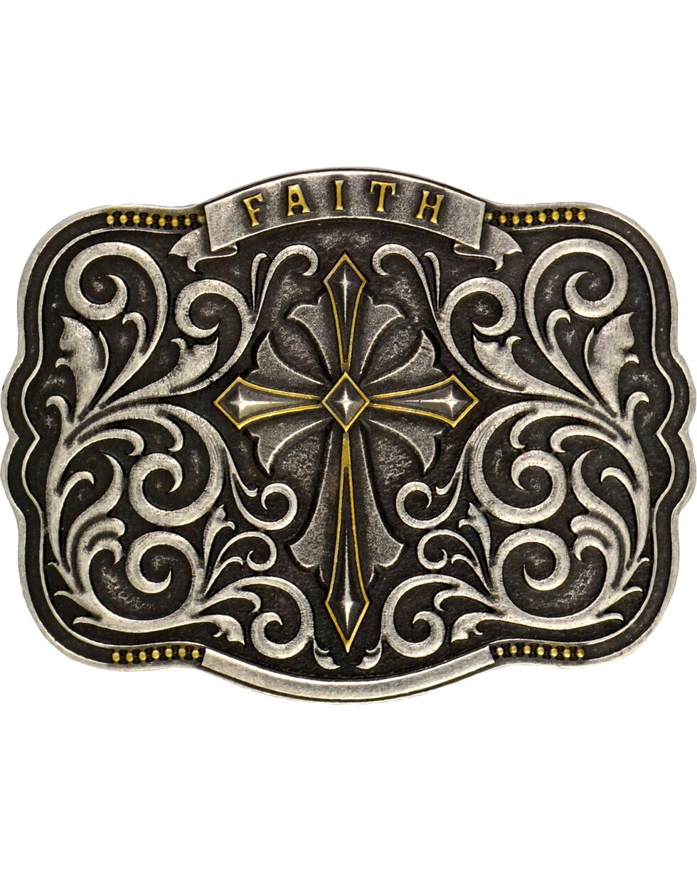 Montana Silversmiths Men's Two-Tone Faith Cross Traditional Attitude Buckle, Antique Silver, hi-res