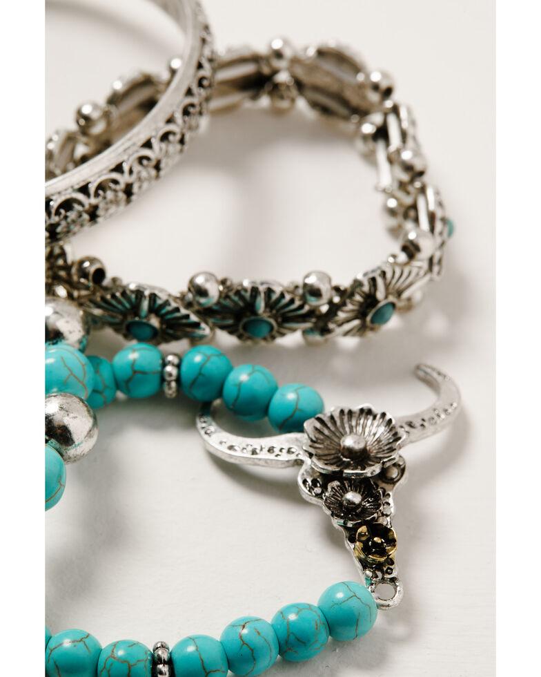 Shyanne Women's Wild Soul Beaded Longhorn Stretch Bracelet Set, Silver, hi-res