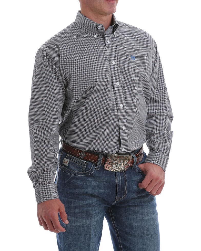 Cinch Men's White Small Geo Print Button Long Sleeve Western Shirt , White, hi-res