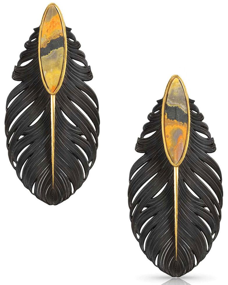 Montana Silversmiths Women's Ruffled Feathers Bumblebee Jasper Earrings, Black, hi-res