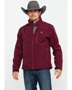 HOOey Men's Maroon Solid Softshell Zip Jacket , Burgundy, hi-res