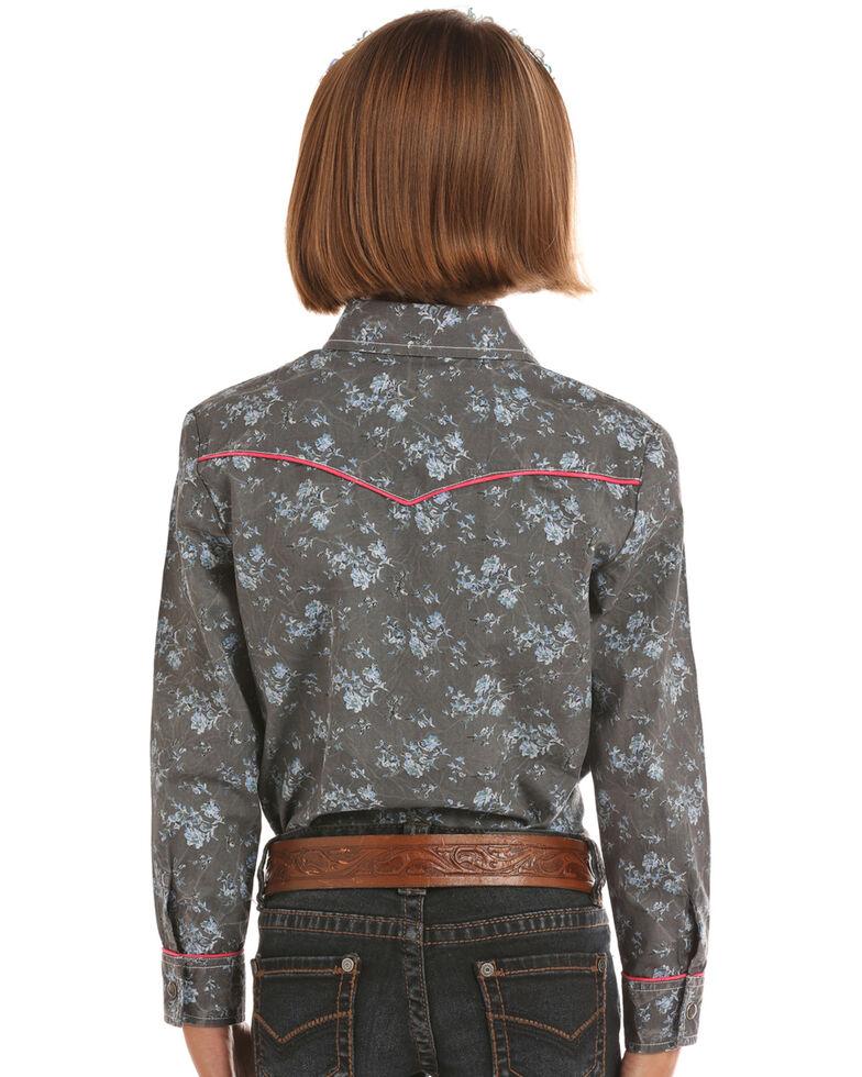 Rock & Roll Denim Girls' Grey Floral Print Long Sleeve Western Shirt , Grey, hi-res