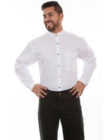 WahMaker By Scully Men's White Striped Button Long Sleeve Western Shirt - Big , White, hi-res