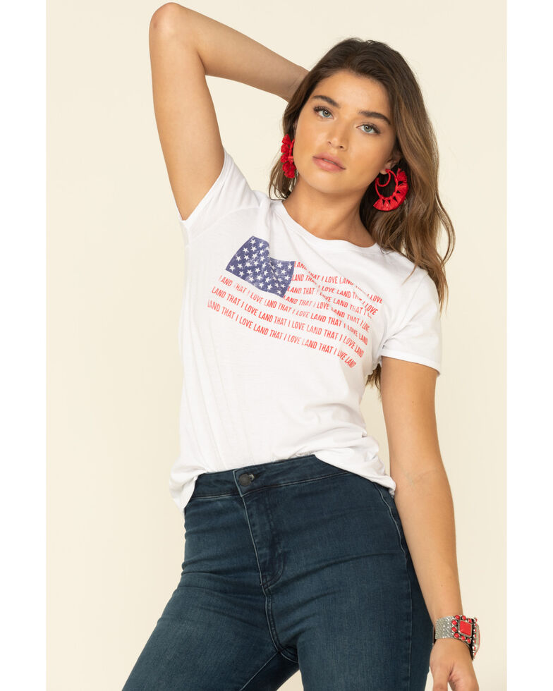 White Crow Women's Land That I Love Flag Graphic Tee, Red/white/blue, hi-res