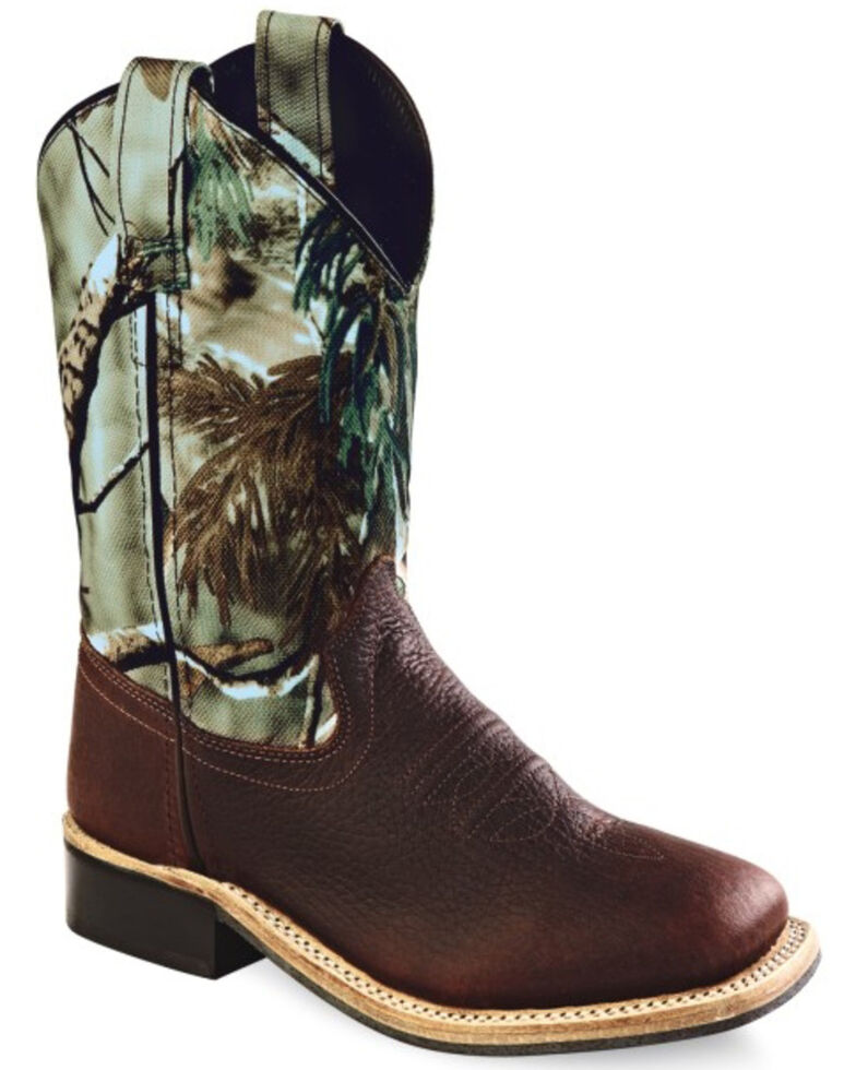 Old West Youth Boys' Oiled Rust Camo Cowboy Boots - Square Toe, Oiled Rust, hi-res