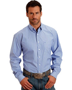 Stetson Men's Open One Pocket Striped Long Sleeve Shirt, Blue, hi-res