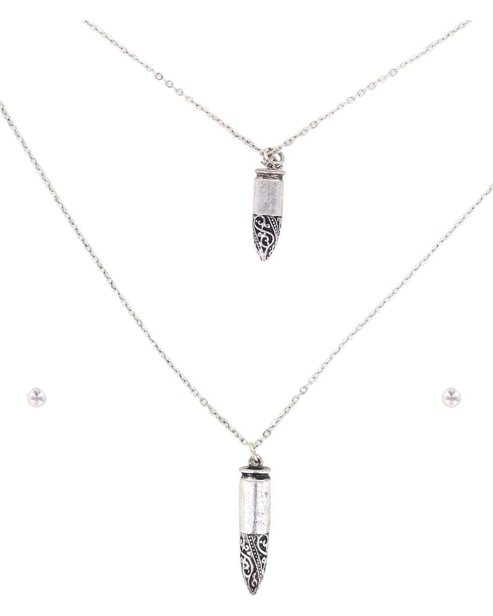 Shyanne Women's Double Bullet Jewelry Set, Silver, hi-res
