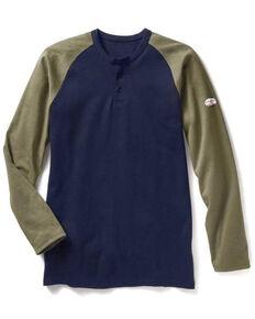 Rasco Men's Flame Resistant Navy Two Tone Henley Long Sleeve Work Shirt - Big , Navy, hi-res