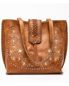 Shyanne Women's Floral Embroidery Tote, Cognac, hi-res