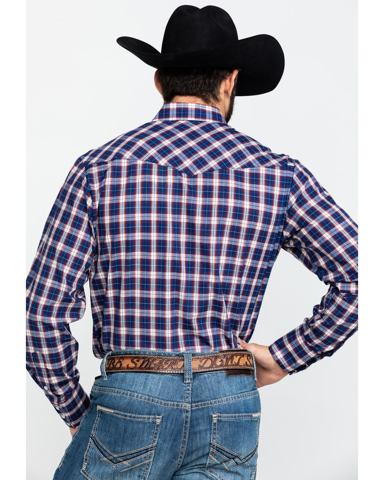 Roper Men's Multi Plaid Snap Woven Long Sleeve Western Shirt , Blue, hi-res