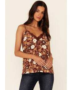Idyllwind Women's Rust Floral Print Little Lace Cami , Rust Copper, hi-res