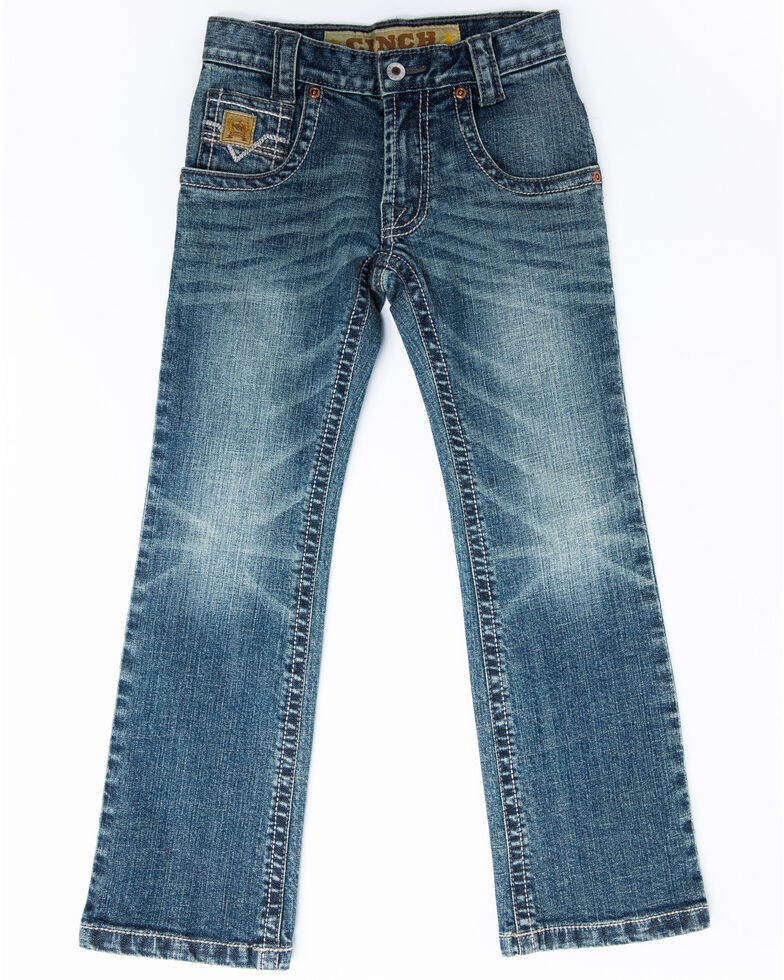 Cinch Boys' 8-18 Medium Stonewash Stretch Slim Boot Jeans , Blue, hi-res