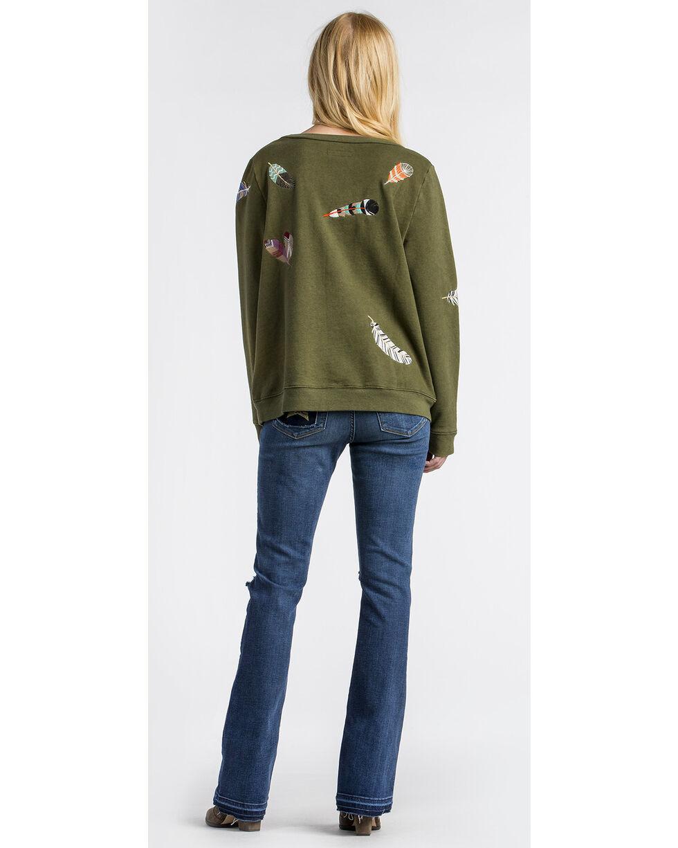 MM Vintage Women's Olive Feather Embroidered Sweatshirt , Olive, hi-res