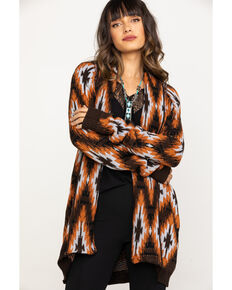 Rock & Roll Cowgirl Women's Rust Aztec Cardigan , Rust Copper, hi-res
