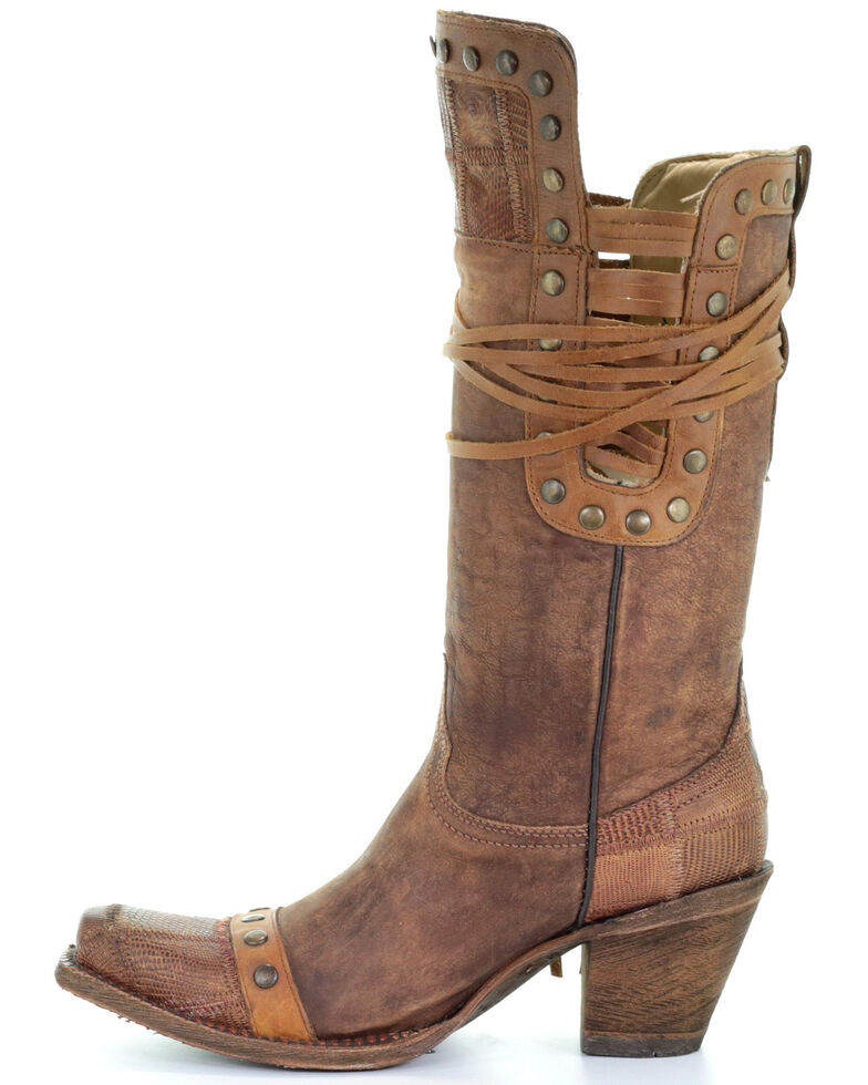 Corral Women's Vintage Gold Studded Western Boots - Snip Toe, Brown, hi-res