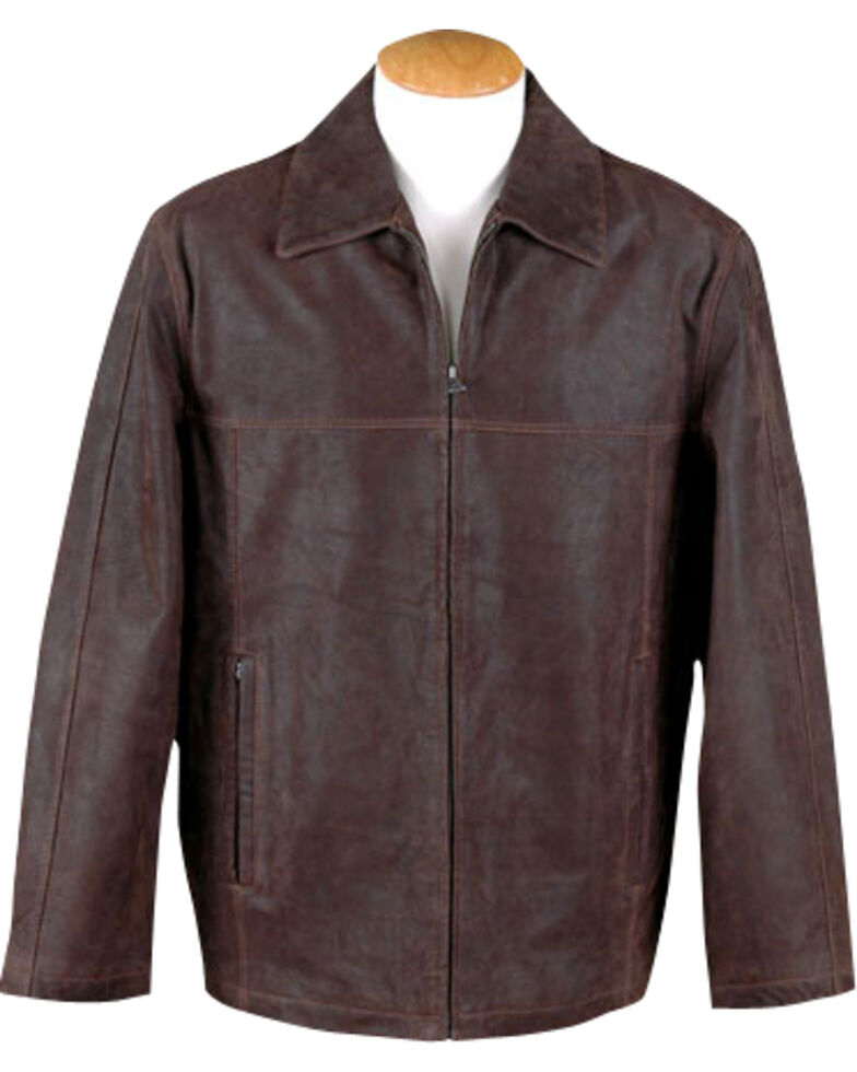38dc8c9563 Zoomed Image Vintage Leather Men's Brown Distressed Leather Jacket , Brown,  hi-res