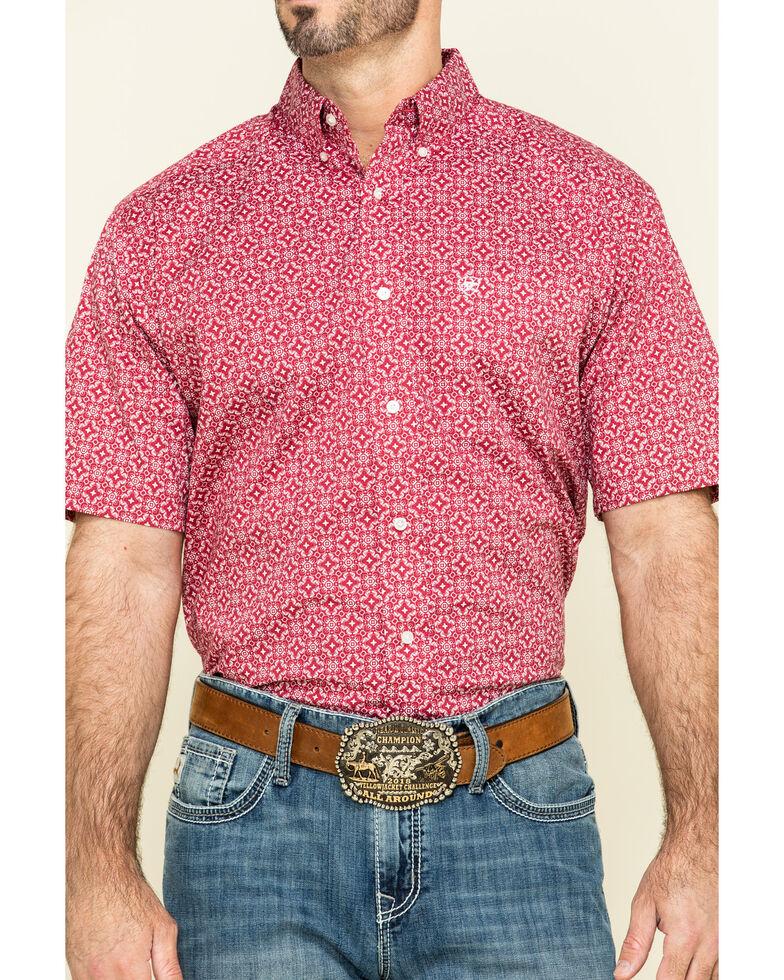 Ariat Men's Tillsmans Red Geo Print Short Sleeve Western Shirt - Tall , Red, hi-res