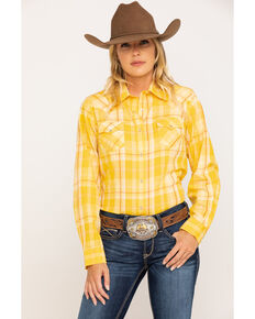 Wrangler Women's Mustard Plaid Long Sleeve Western Shirt, Dark Yellow, hi-res