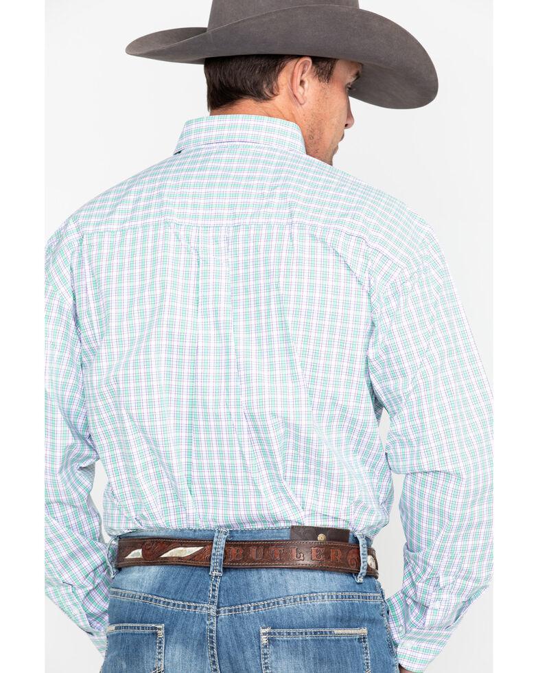 George Strait by Wrangler Men's Small Plaid Long Sleeve Western Shirt , Purple, hi-res