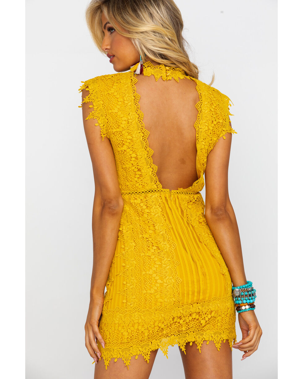Free People Women's Honey Mini Lace Dress, Dark Yellow, hi-res