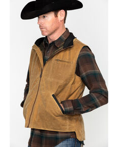 Outback Trading Co. Men's Sawbuck Flannel Lined Oilskin Zip-Front Vest, Tan, hi-res
