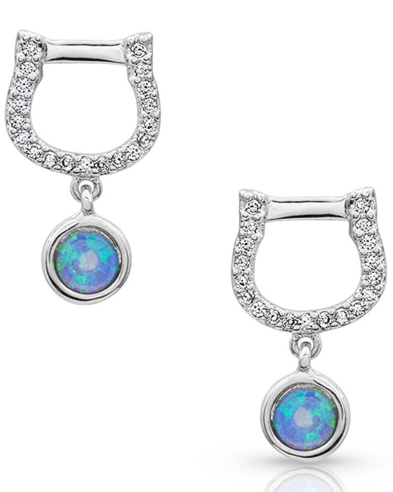 Montana Silversmiths Women's Horseshoe Opal Earrings, Blue, hi-res