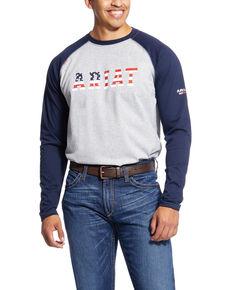 Ariat Men's Navy FR Stars & Stripes Logo Work Raglan T-Shirt - Tall , Navy, hi-res