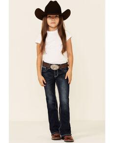 Grace In LA Toddler Girls' Dark Wash Floral Embroidered Pocket Bootcut Jeans , Blue, hi-res