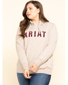 Ariat Women's Oatmeal R.E.A.L. Logo Hoodie - Plus, Oatmeal, hi-res