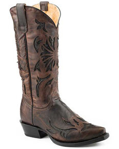Roper Women's Burnished Inlay Western Boots - Snip Toe, Brown, hi-res