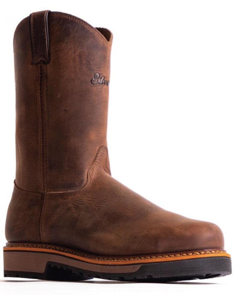"""Silverado Men's 10"""" Western Work Boots - Soft Toe, Brown, hi-res"""