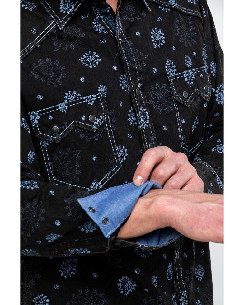 Rock & Roll Denim Men's Paisley Print Poplin Long Sleeve Shirt , Light Blue, hi-res